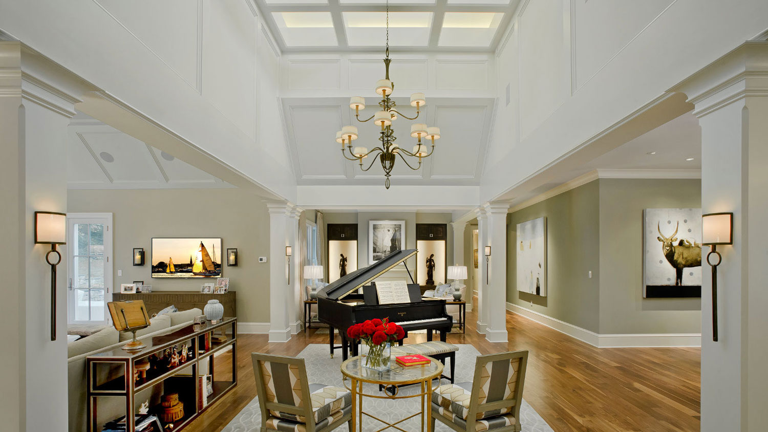 Soaring two-story foyer with piano in Maryland custom home