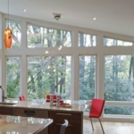 Wall of windows in custom sizes for contemporary modern home in Cockeysville, MD