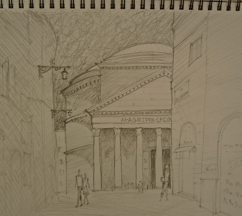 Exterior of the Pantheon of Rome. Sketch by Peter Twohy