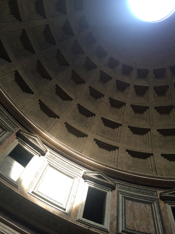 View to the Oculus of the Pantheon in Rome. Photo credit: Peter Twohy